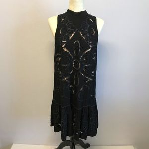 Free People Embroidered Cut Out Dress Sz L Black